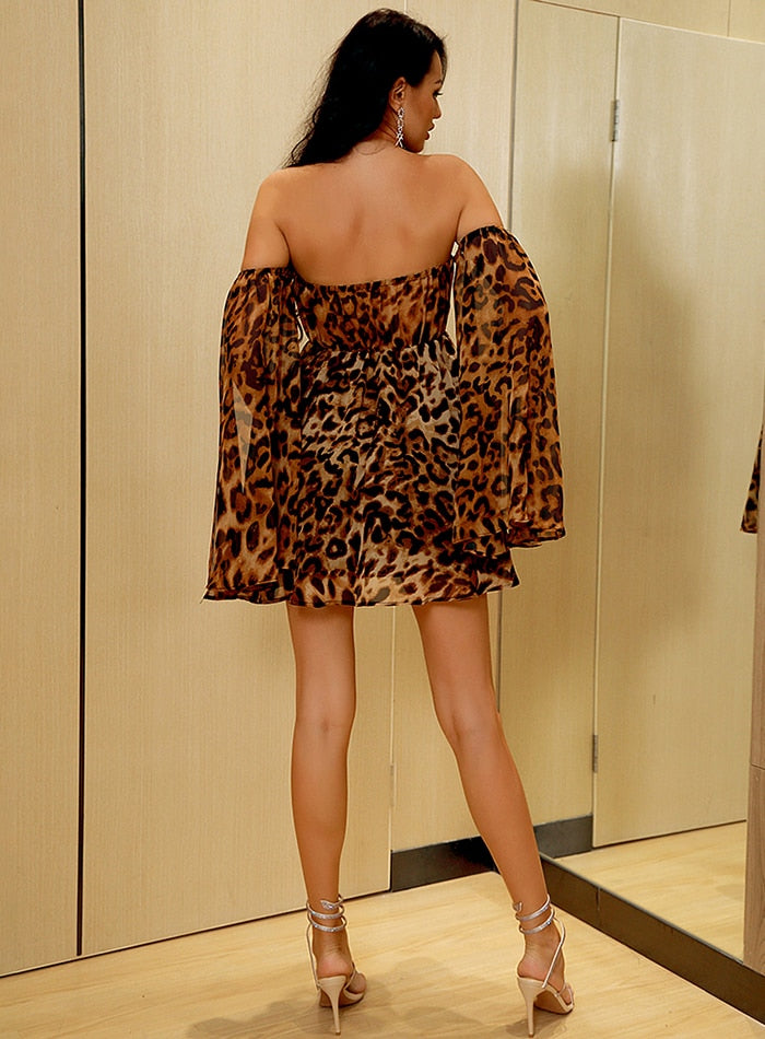 Leopard Chiffon Mini Dress - Flip Flop Labs