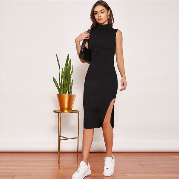 Split Thigh Bodycon Midi Dresses - Flip Flop Labs