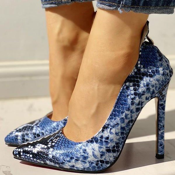 Snakeskin Print Thin Heeled Pumps - Flip Flop Labs