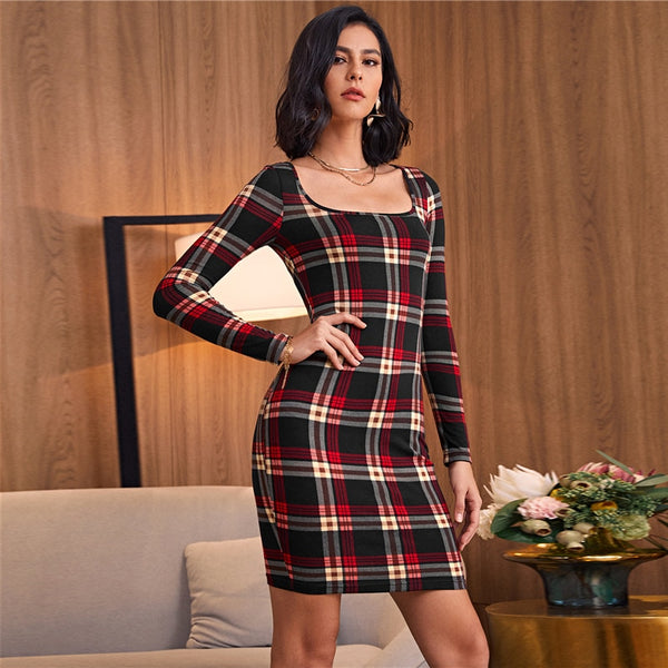Scoop Neck Tartan Mini Dress Without Belt