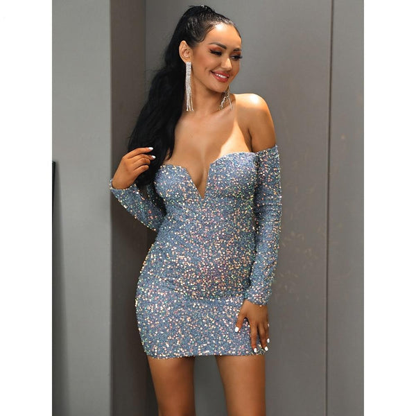 Silver Sequin Off Shoulder Long Sleeve Bodycon Mini Dress - Flip Flop Labs