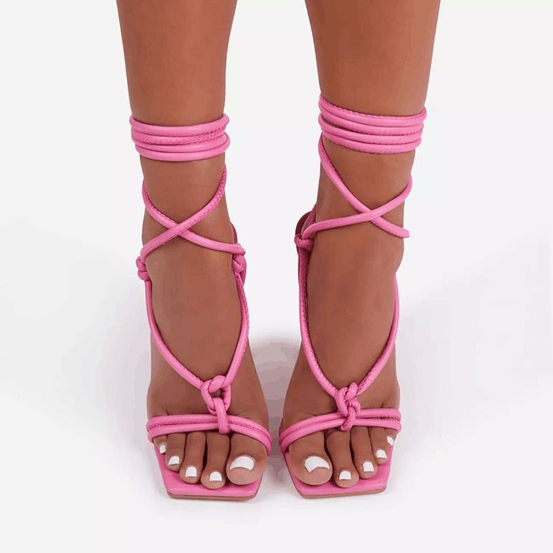 Square Head High Heeled Ankle Cross Lace-up Sandals - Flip Flop Labs