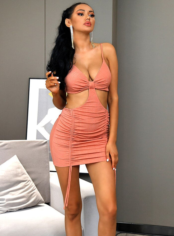 Pink V-Neck Cut Out Lace Bodycon Party Mini Dress - Flip Flop Labs