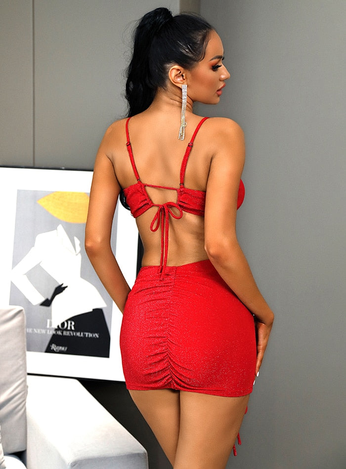 Red V-Neck Cut Out Bodycon Party Mini Dress