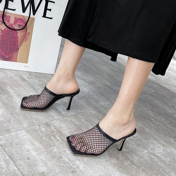 Mesh High Heeled Slippers - Flip Flop Labs