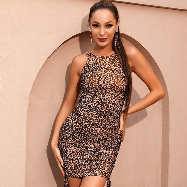 Leopard Mesh Bodycon Lace Mini Dress - Flip Flop Labs