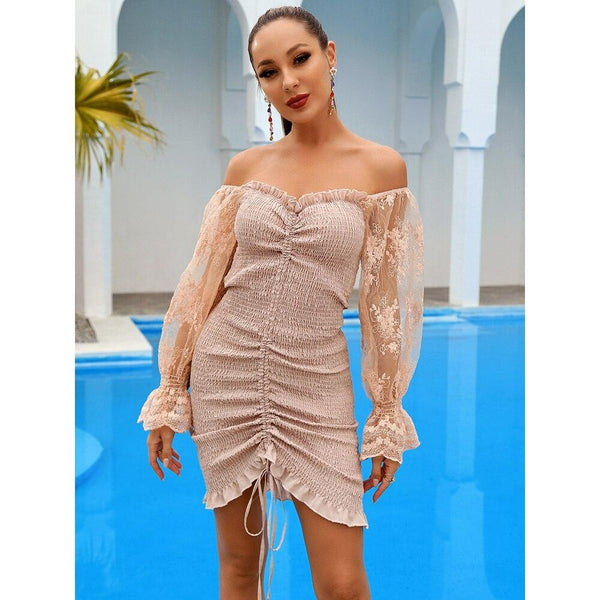Nude Lace Bodycon Mini Dress - Flip Flop Labs