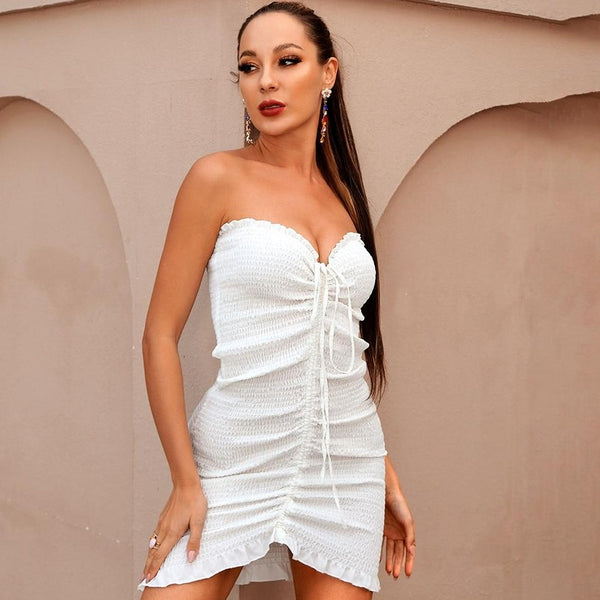 White Tube Top Elastic Drawstring Bodycon Mini Dress - Flip Flop Labs