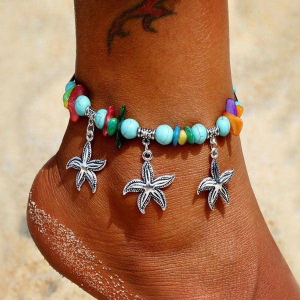 Bohemian Starfish Stone Beads Anklet - Flip Flop Labs