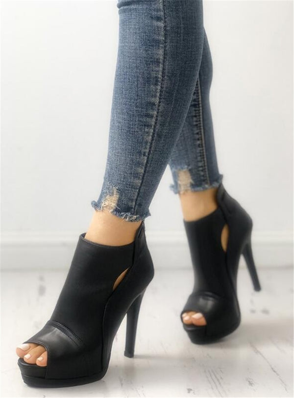 Peep Toe Ankle Boots - Flip Flop Labs