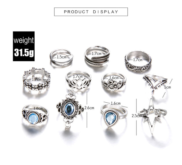 11 Piece Boho RIng Set - Flip Flop Labs