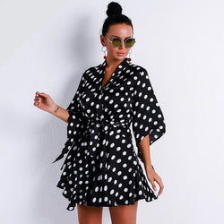 Half Sleeve Polka Dot Mini Dress - Flip Flop Labs