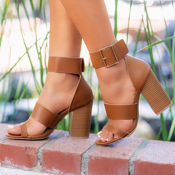 Thick Heel Buckle Sandals - Flip Flop Labs
