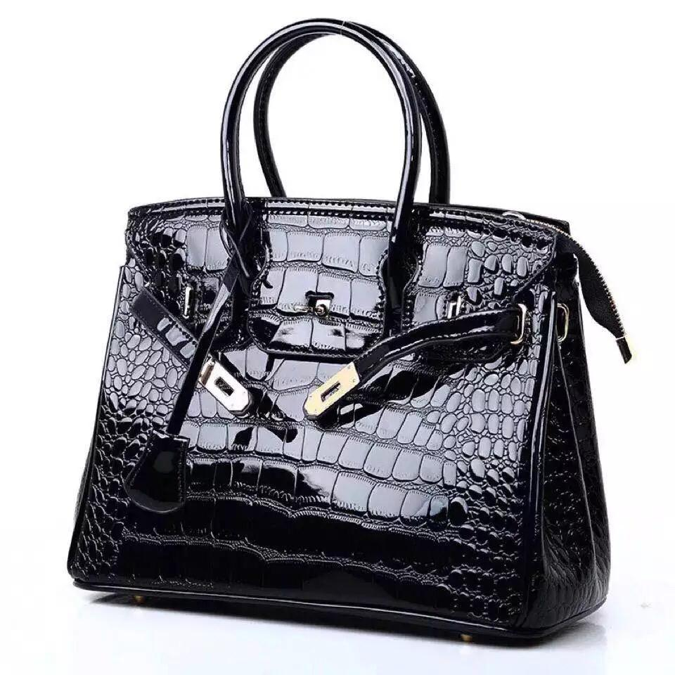 Kylie croc large bag / Black