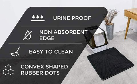 Our mat is urine Proof, has non absorbent edges, convex shaped rubber dots and it is easy to clean.