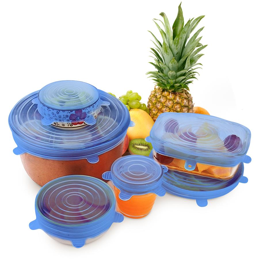 Zero-Waste Reusable Food Container Lids in blue by Simple-Days.com