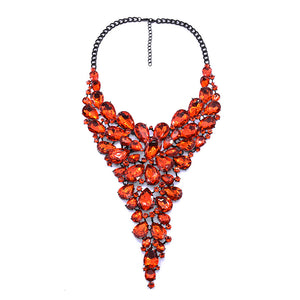 Popular exaggerated red gem crystal long necklace