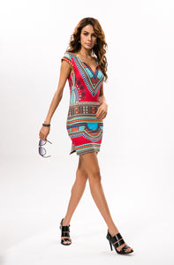 Body-Fitting-Abstract-Printed-Mini-Dress