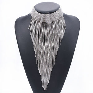 Full Diamond Clavicle Necklace Long Tassel Necklace