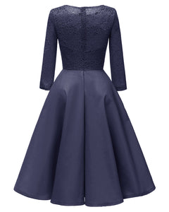Lace Satin Dinner Dress with Long Sleeve