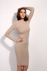 Knitted Round Neck Long Sleeve Dress