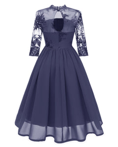 Women's Lace Embroidery Evening Dinner Dress
