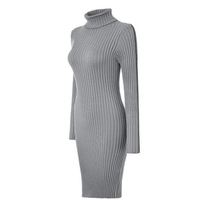 High-Neck-Pullover-Knitted-Body-Fitting-Dress
