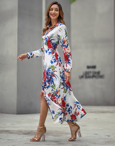 Long-Sleeved-Bohemian-Print-Midi-Dress