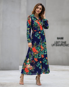Long Sleeved Bohemian Print Maxi Dress