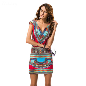 Body Fitting Abstract Printed Mini Dress