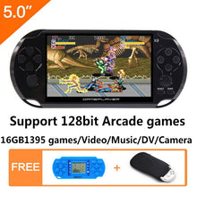 Load image into Gallery viewer, 16GB 128Bit Handheld Game Console 5.0 inch MP4 Video Game Console Retro Games built-in 1395 games for arcade/gba/gbc/snes/fc/smd