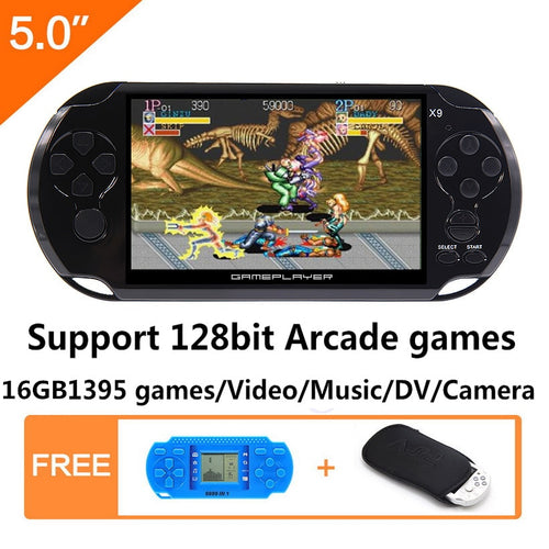 16GB 128Bit Handheld Game Console 5.0 inch MP4 Video Game Console Retro Games built-in 1395 games for arcade/gba/gbc/snes/fc/smd