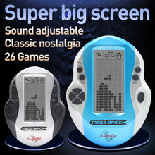 Load image into Gallery viewer, Kids Console Big Screen Handheld Tetris Console Retro Mega Tetris Game Console Built-in 26 Games Classic Intellectual Toys