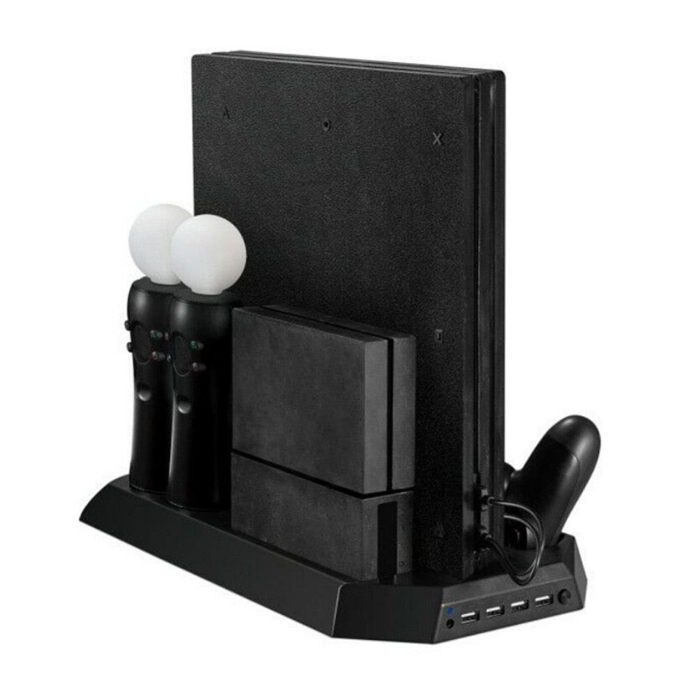 Vertical Stand Game Console Stand with Cooling Fan Dual Gaming Controller Gamepad Charging Station Holder for PS4 Pro