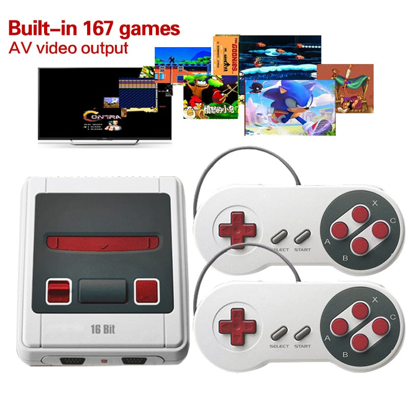 Retro Mini Game Console TV Out 16 Bit Handheld TV Video Game Console Built-In 167 Classic for SNES games Handheld Game Console