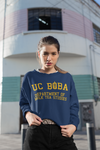 Woman wearing a UC Boba Shirt who likes bubble tea and milk tea