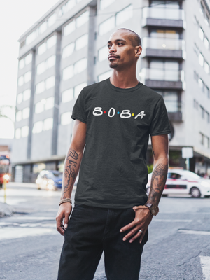 Man wearing Black Boba Shirt
