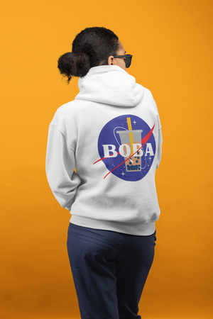 Back View of a Woman wearing a NASA Boba Hoodie
