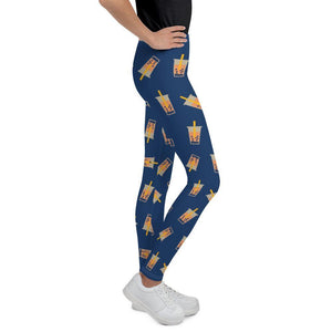 Left Side view of kids wearing boba leggings