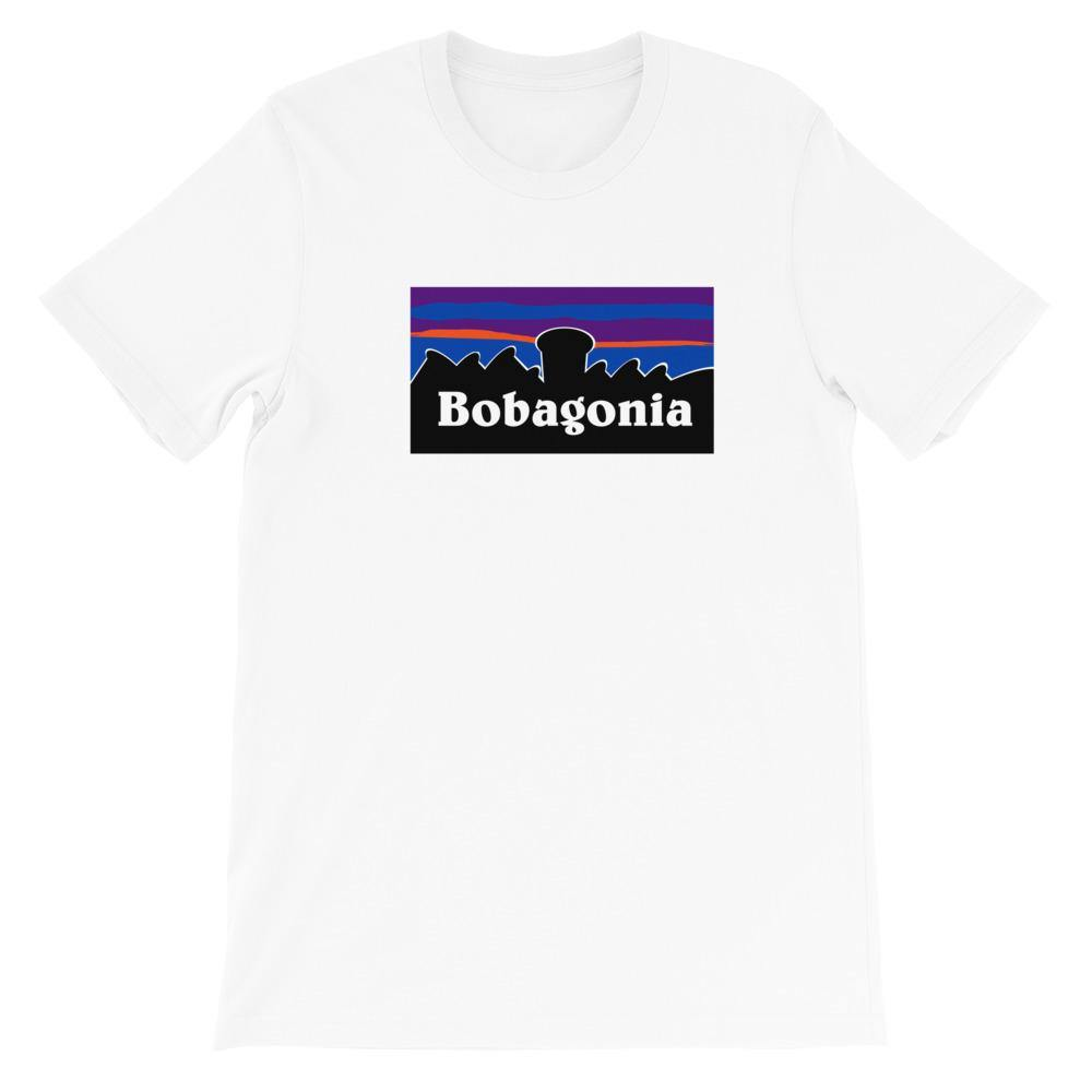 White Bobagonia Shirt against a backdrop