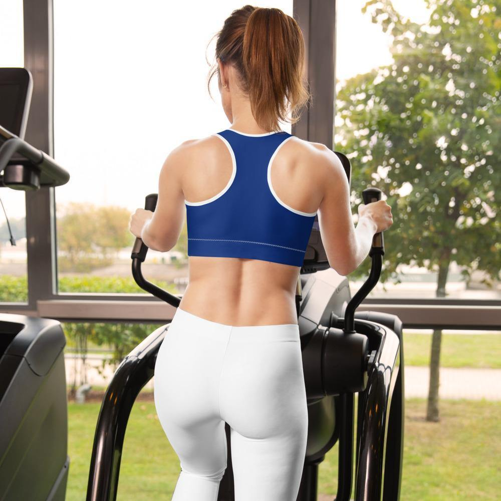 Back of a Boba Sports Bra on the treadmill
