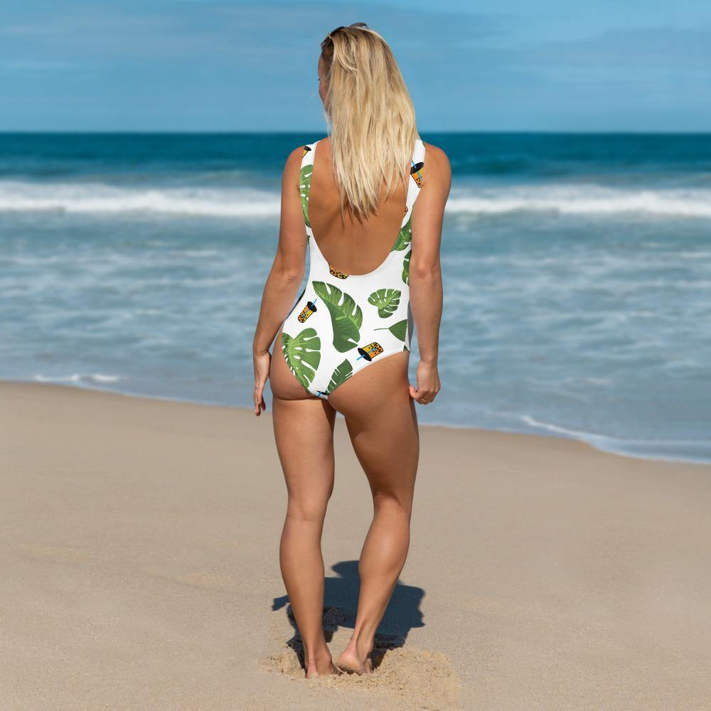 Woman wearing Boba Leaves Swimsuit Back