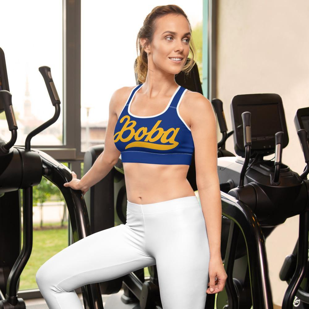 Woman on a treadmill wearing a Boba Sports Bra