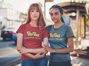 Two women wearing bobamon shirts - pokemon parody