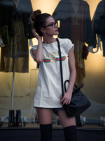 Sophisticated woman wearing designer boba shirt - Gucci Parody