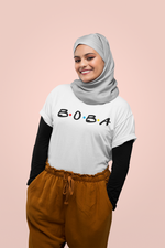 Woman wearing a hijab and a Boba Friends