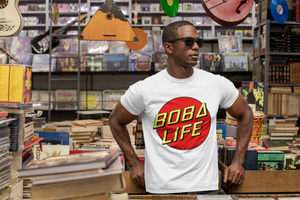 African American man wearing a Boba Life T-Shirt