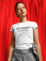 Woman in red lipstick wearing an Off Boba Shirt - Off White Parody