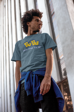 Man wearing a light blue Bobamon shirt leaning against a wall - Pokemon Parody