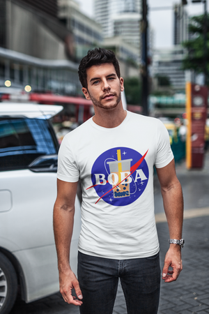 Man wearing a Nasa Boba shirt